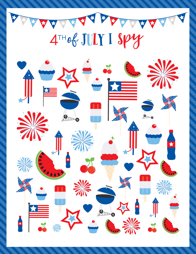 FREE 4th of July I SPY Printable Game - kids love these!