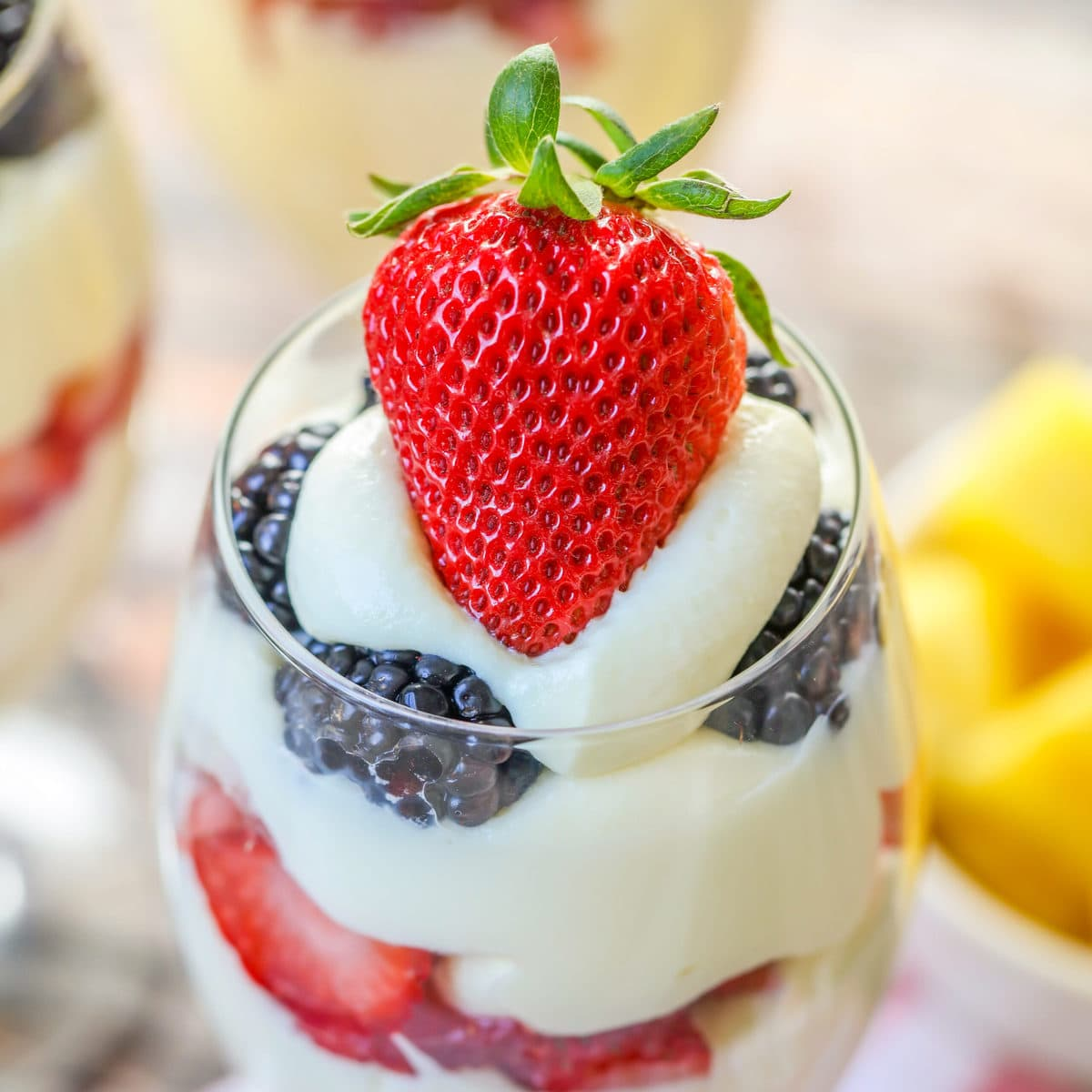 Strawberry and blackberry parfait in a glass
