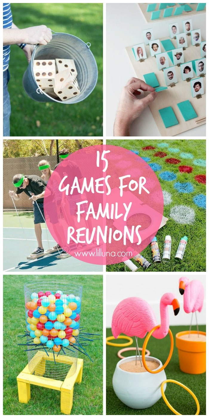 15 games that are perfect for family reunions and get togethers! Ranging from outdoor fun, to guessing games, there are activities for all ages!! { lilluna.com }