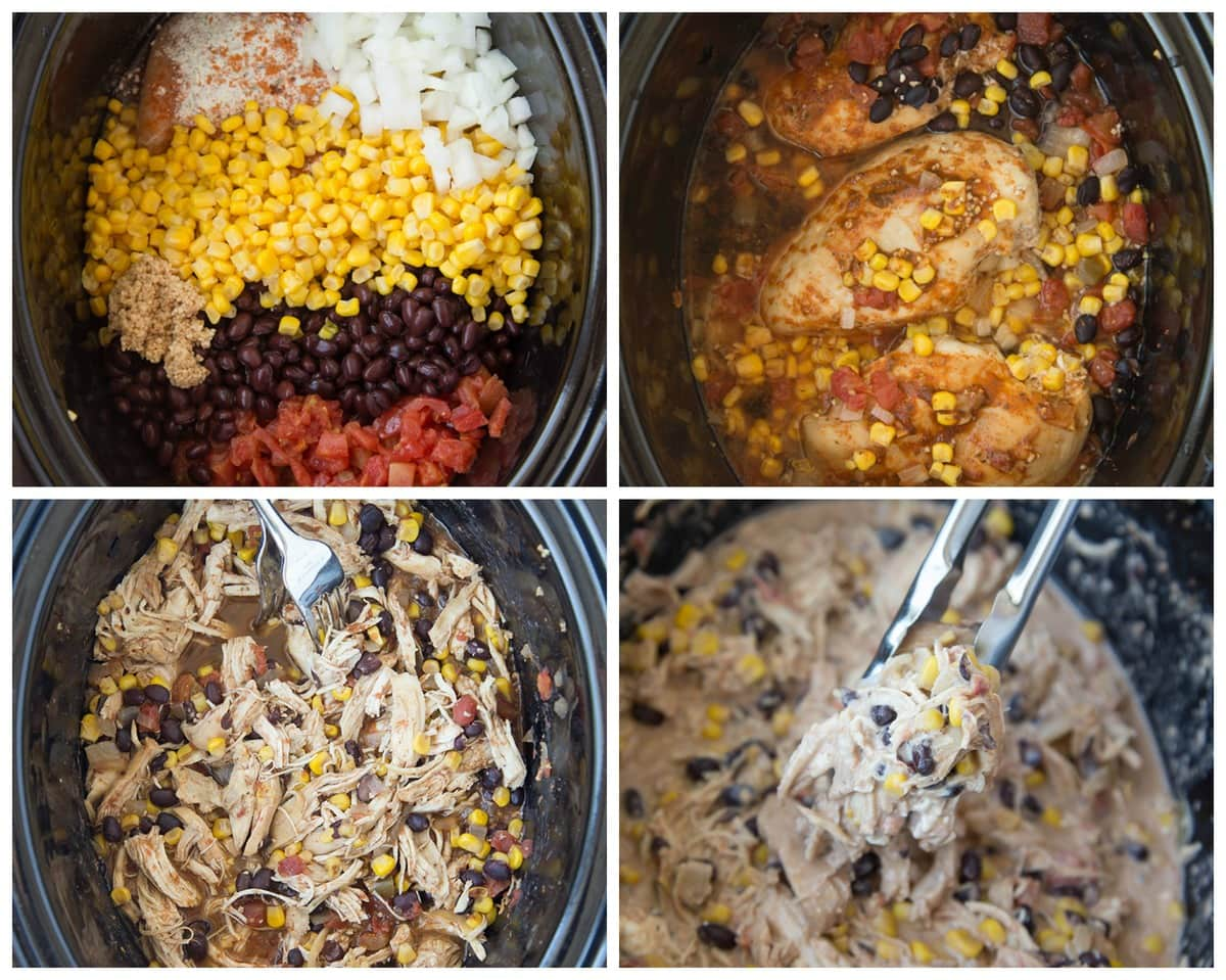 process collage of ingredients in crockpot, chicken being shredded, and cream cheese being added