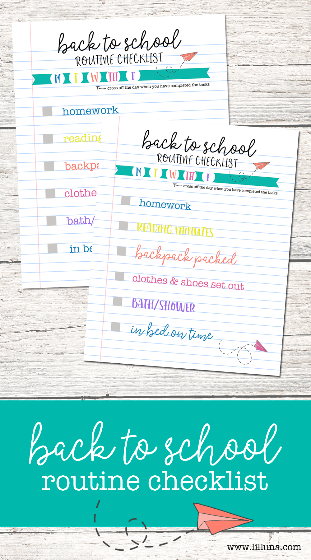 FREE Back 2 School Routine Checklist - help the kids get back in a routine with this free printable.