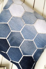 diy - hexagon pillow with old jeans ombre effect