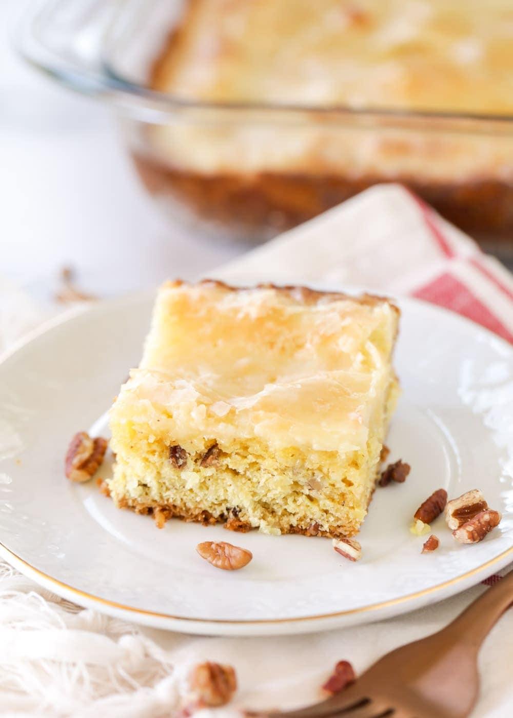 Neiman Marcus Cake recipe on a white plate