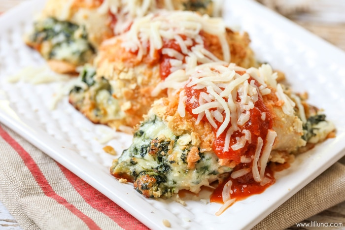 Stuffed Chicken Parmesan on a white plate