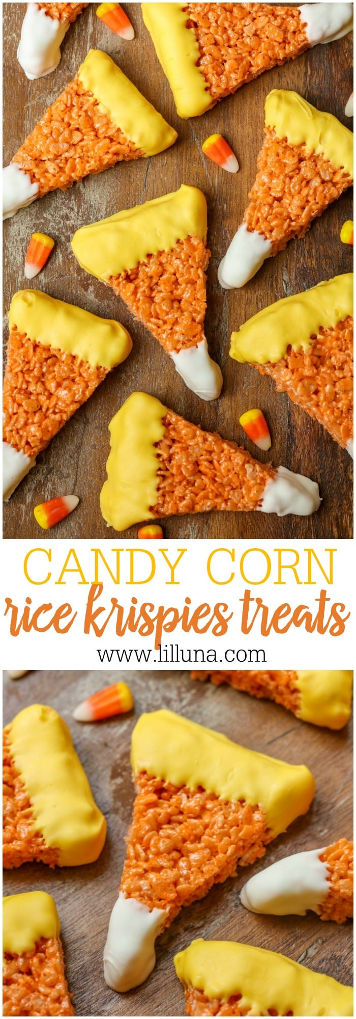 Candy Corn Rice Krispies Treats - these would be great for any party and are so CUTE!
