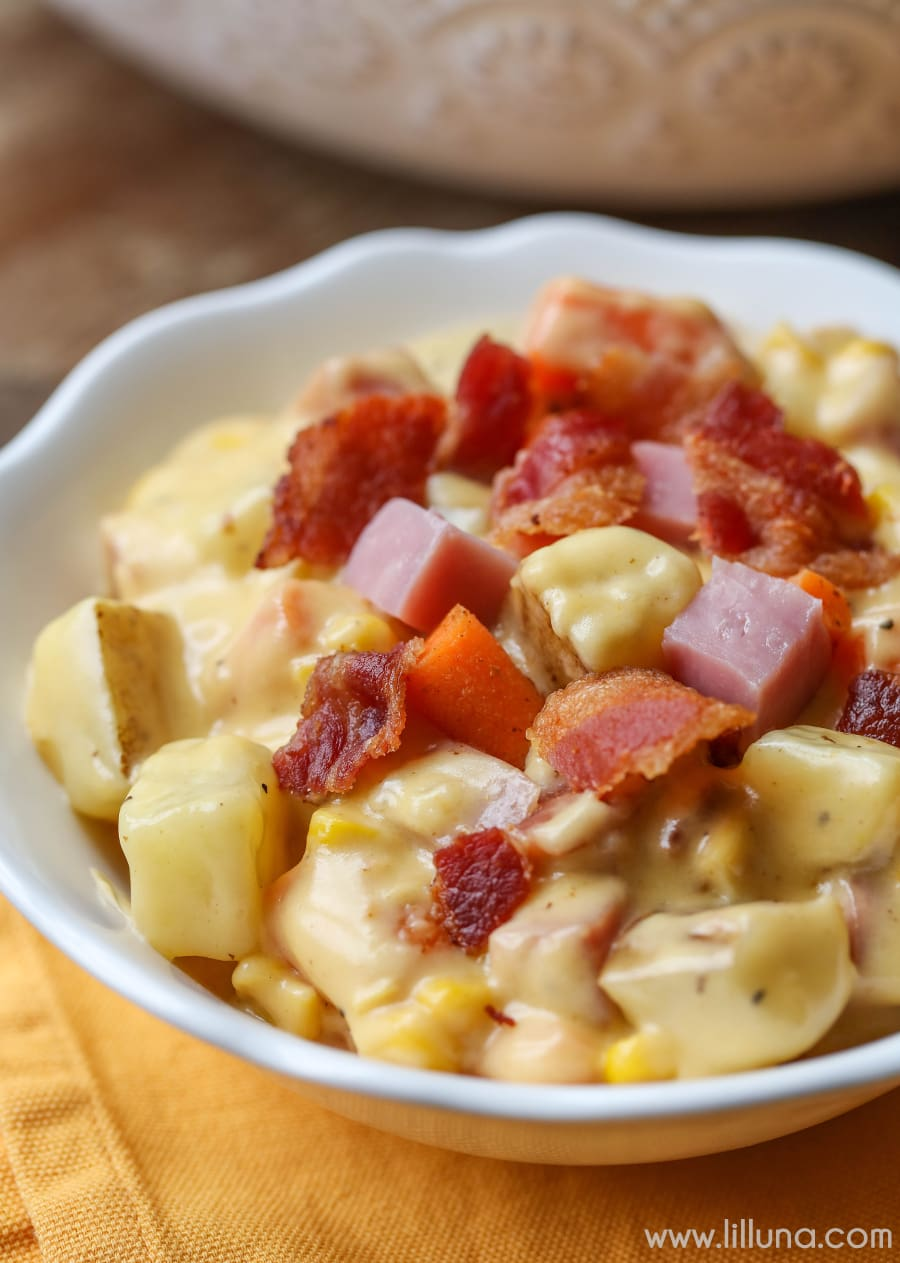 This Cheesy Ham Chowder is PACKED with yummy ingredients like chunky potatoes, diced carrots, and ham. SO cheesy and creamy - it's impossible not to love it!!