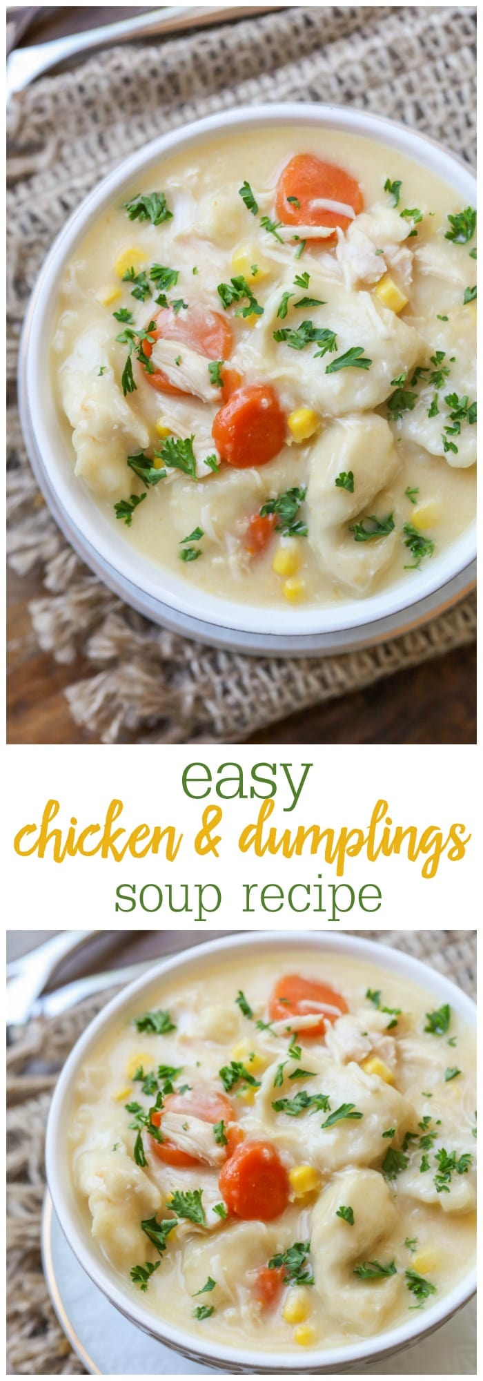 Chicken and Dumplings – a deliciously creamy and hearty chicken stew with celery, peas and carrots and savory flavor plus a hint of heat from cayenne pepper. It is added with balls of tender, light and biscuit-like dumpling to complement the creamy stew. A perfect filling meal to warm your soul.