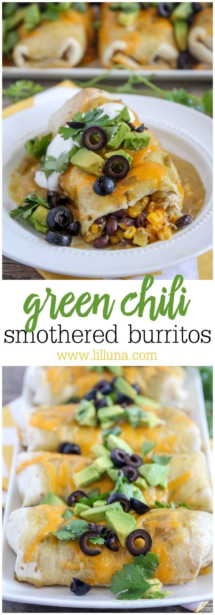 Green Chili Smothered Burritos - easy to make, full of flavor and perfect for dinner!