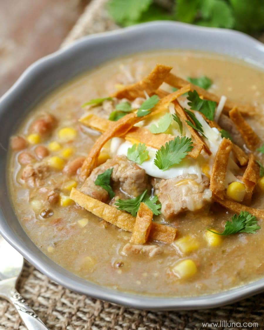Delicious Green Enchilada Pork Chili filled with beans, corn, pork, broth, salsa and more and topped with tortilla strips, sour cream, cilantro and cheese. It's so hearty and yummy!