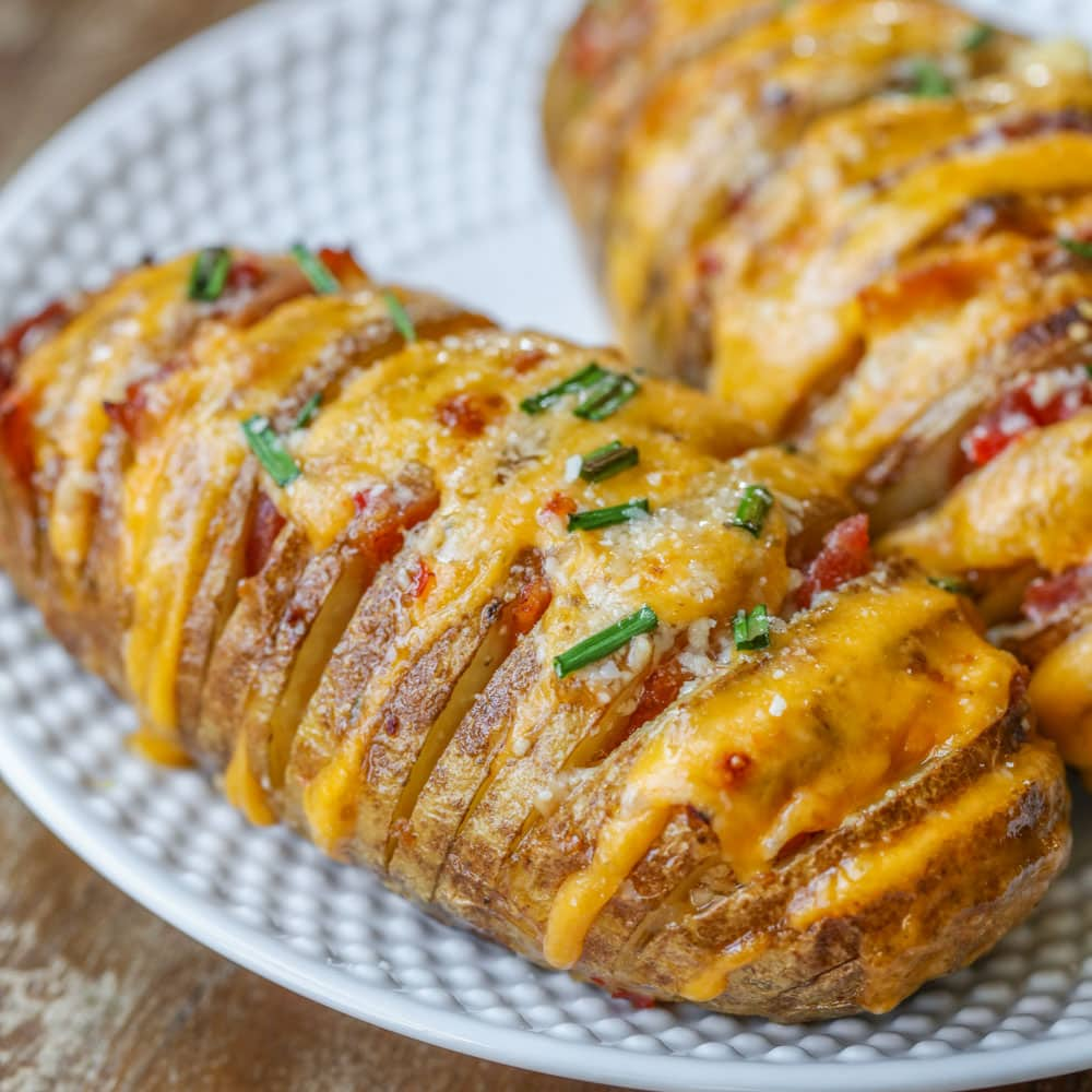 Hasselback potatoes recipe on plate