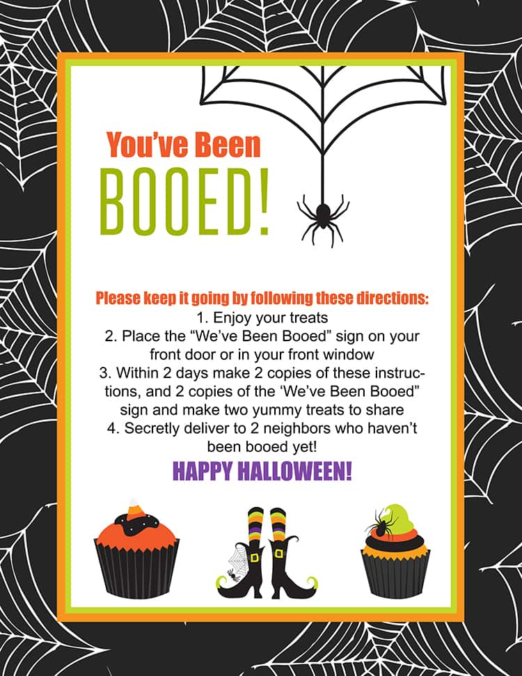 "FREE ""We've Been Booed"" Printable - a fun neighborhood Halloween tradition!! Print the instructions and signs for free and ""boo"" your neighbors!"