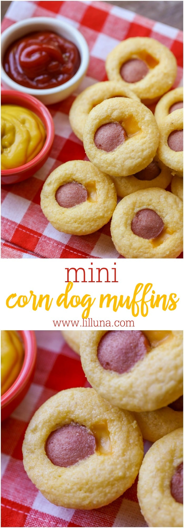 Mini Corn Dog Muffins - mini corn muffins stuffed with cheese and hot dogs. The kids loved this dinner recipe!
