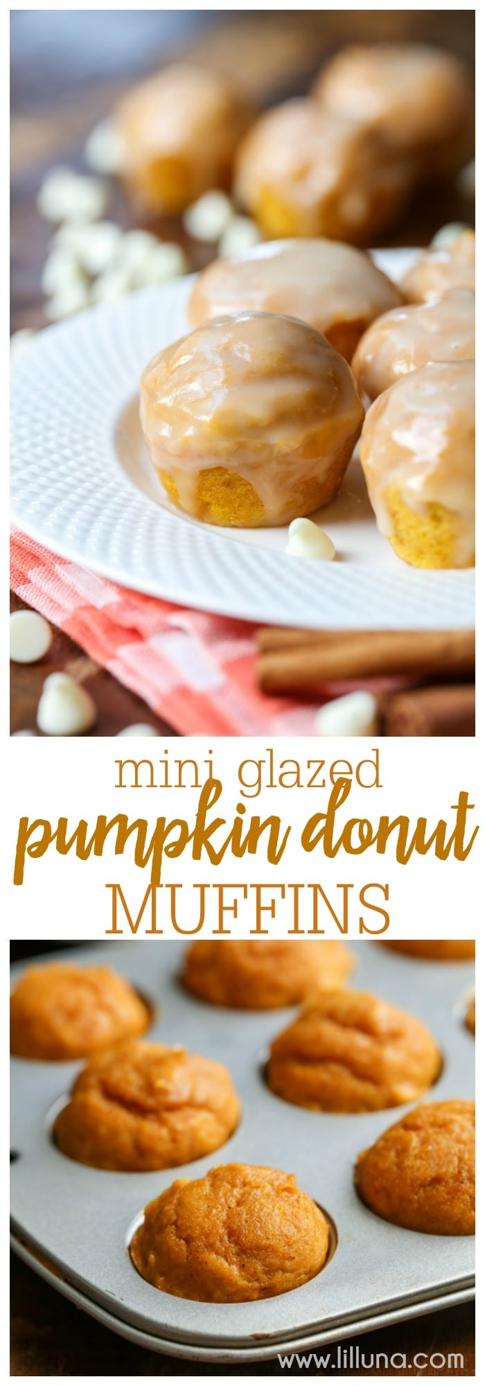 Mini Glazed Pumpkin Donut Muffins - A donut muffin filled with pumpkin and cinnamon flavors, topped with a spiced white chocolate glaze. One word: IRRESISTIBLE!!
