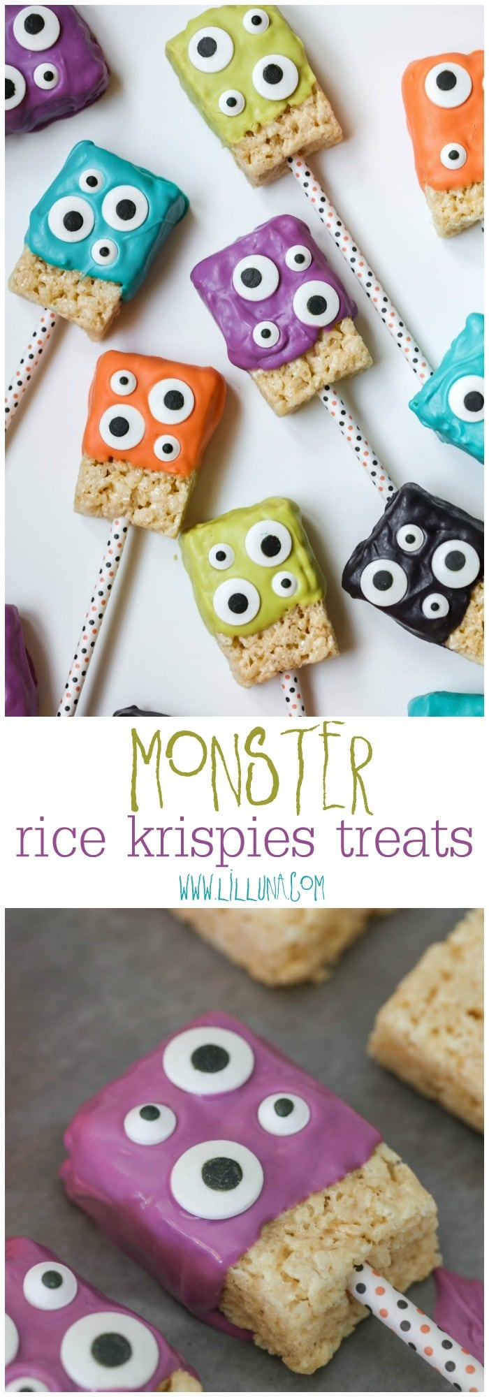 Monster Rice Krispies Treats - a simple, festive and delicious treat perfect for Halloween or Monster parties!