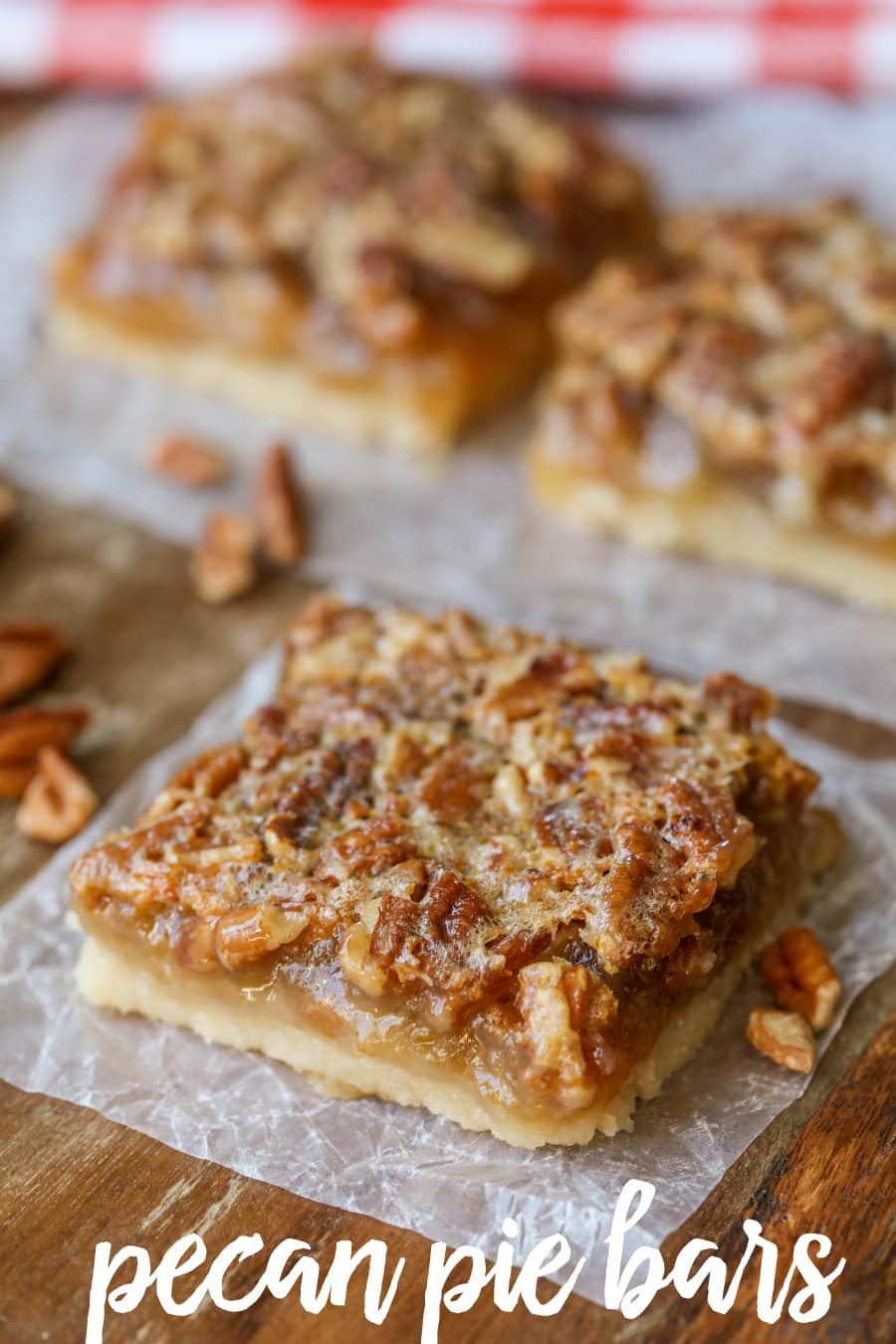 Pecan Pie Bars - a delicious shortbread bottom layer topped with gooey ...