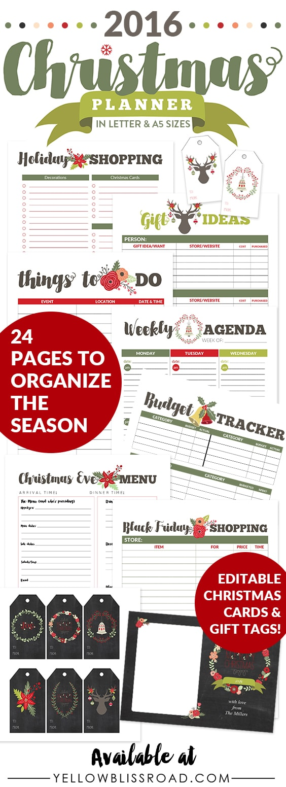 2016 Christmas Planner - Letter & A5 sizes - Everything you need to organize your holidays, from budget trackers and menu planner to editable Christmas Cards and Editable Gift Tags!