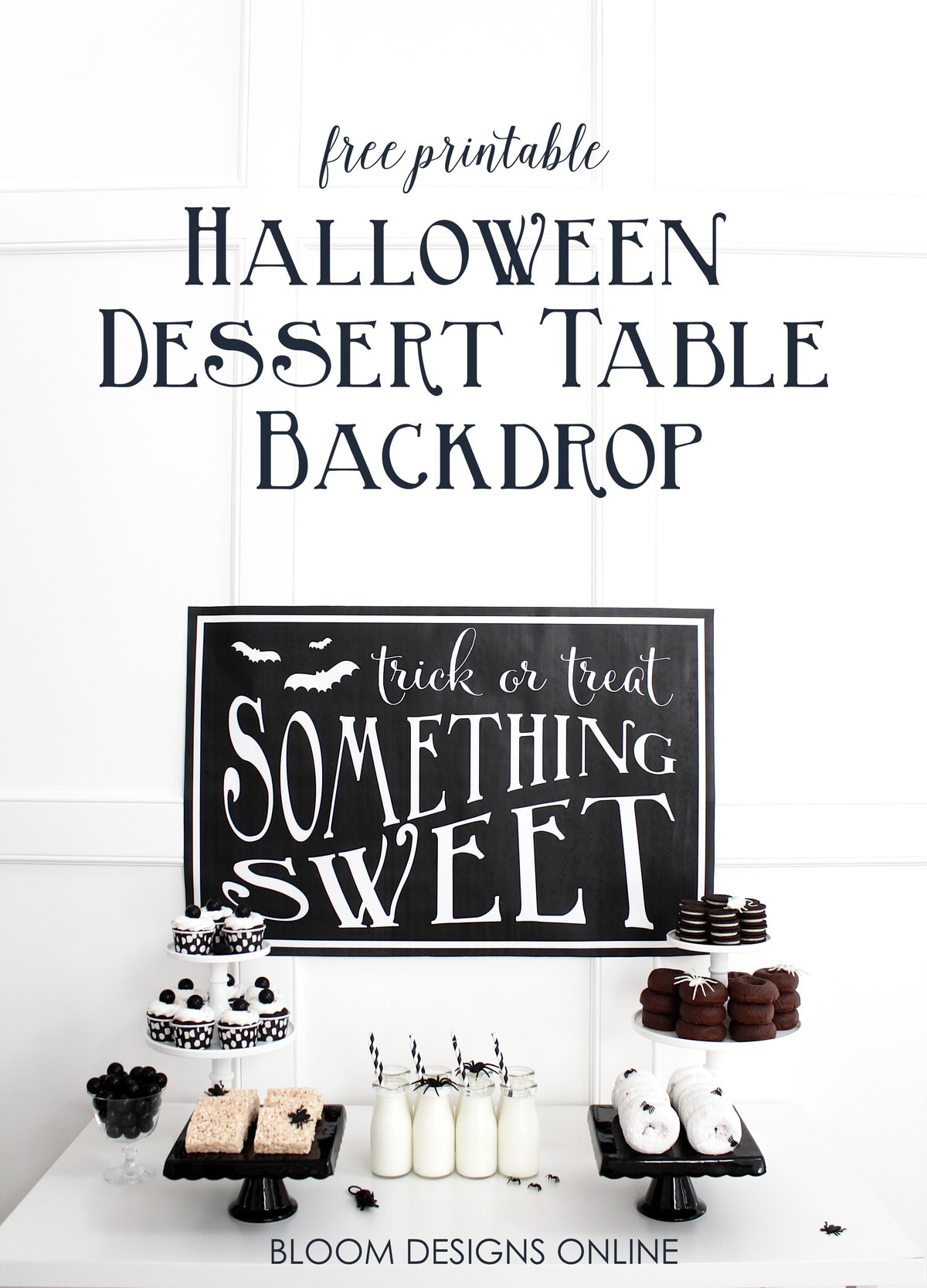 This Trick or Treat, Something Sweet sign makes an adorable but festive backdrop for any Halloween celebration, or use it just to make your home a little more festive!
