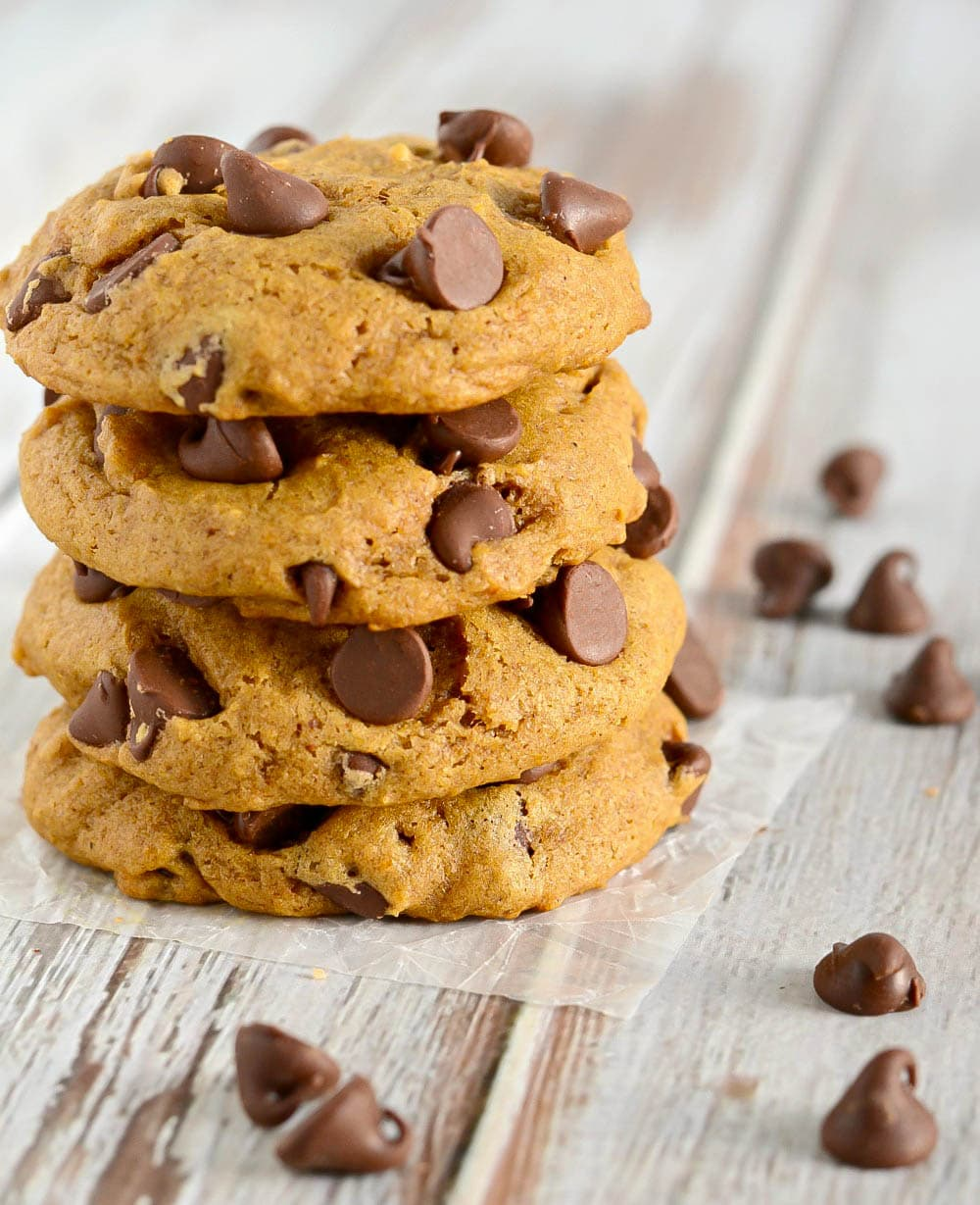 These soft Pumpkin Chocolate Chip Cookies have just the right amount of spice. A perfect fall cookie recipe!