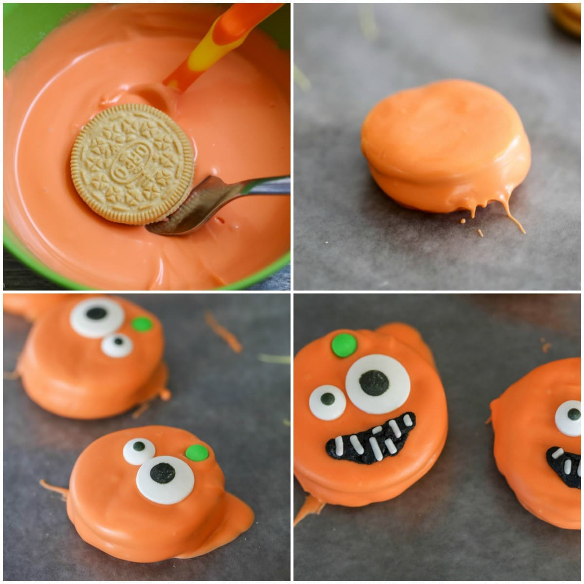process pictures of dipping and decorating pumpkin oreos