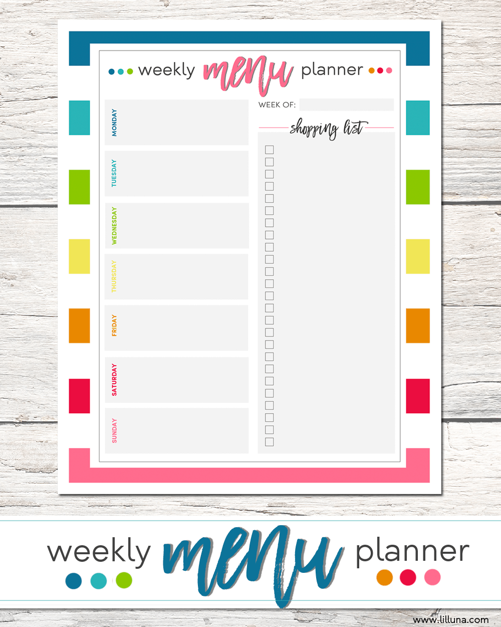 FREE Weekly Menu Planner + Shopping List