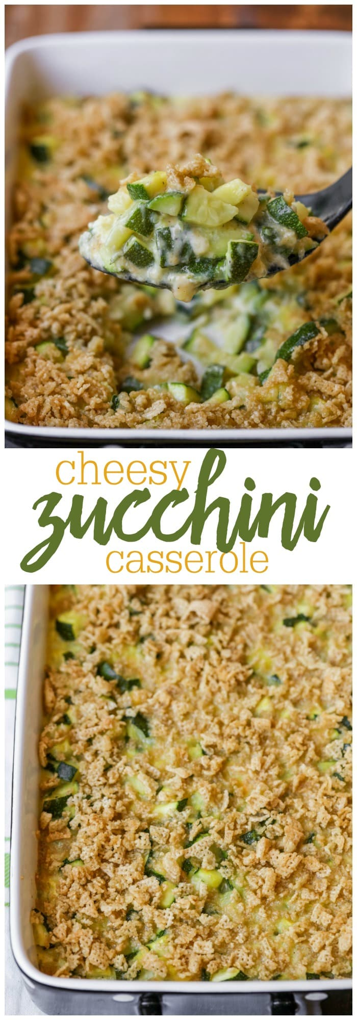 Cheesy Zucchini Casserole - a simple and delicious side dish made with zucchini pieces, cheese, butter and crushed Chex! It's so good!