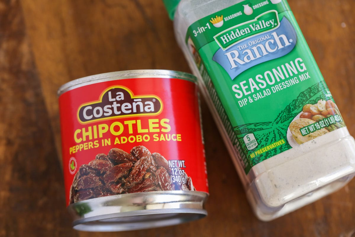 Ingredients for chipotle ranch recipe