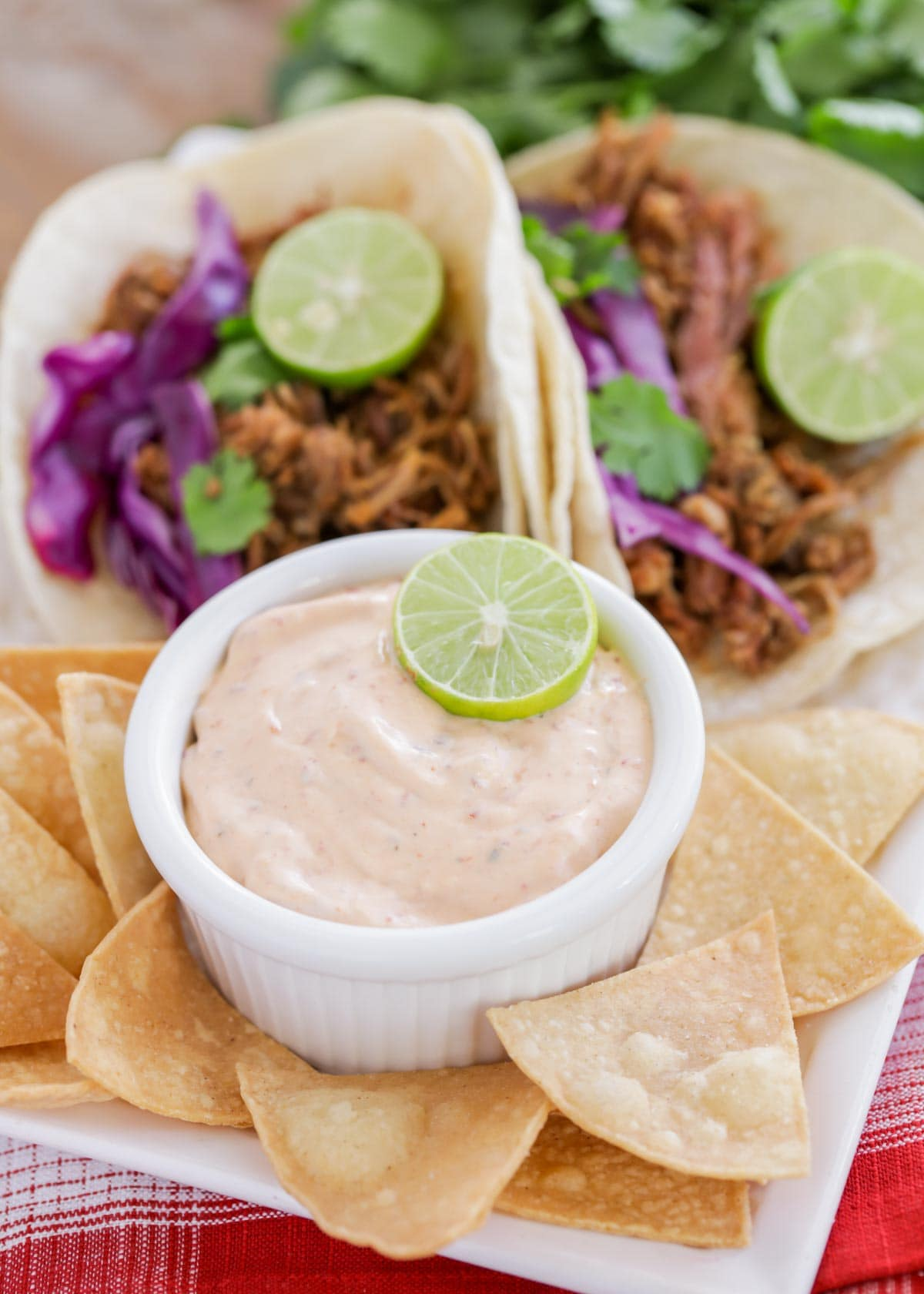 Chipotle ranch served with tortilla chips and tacos