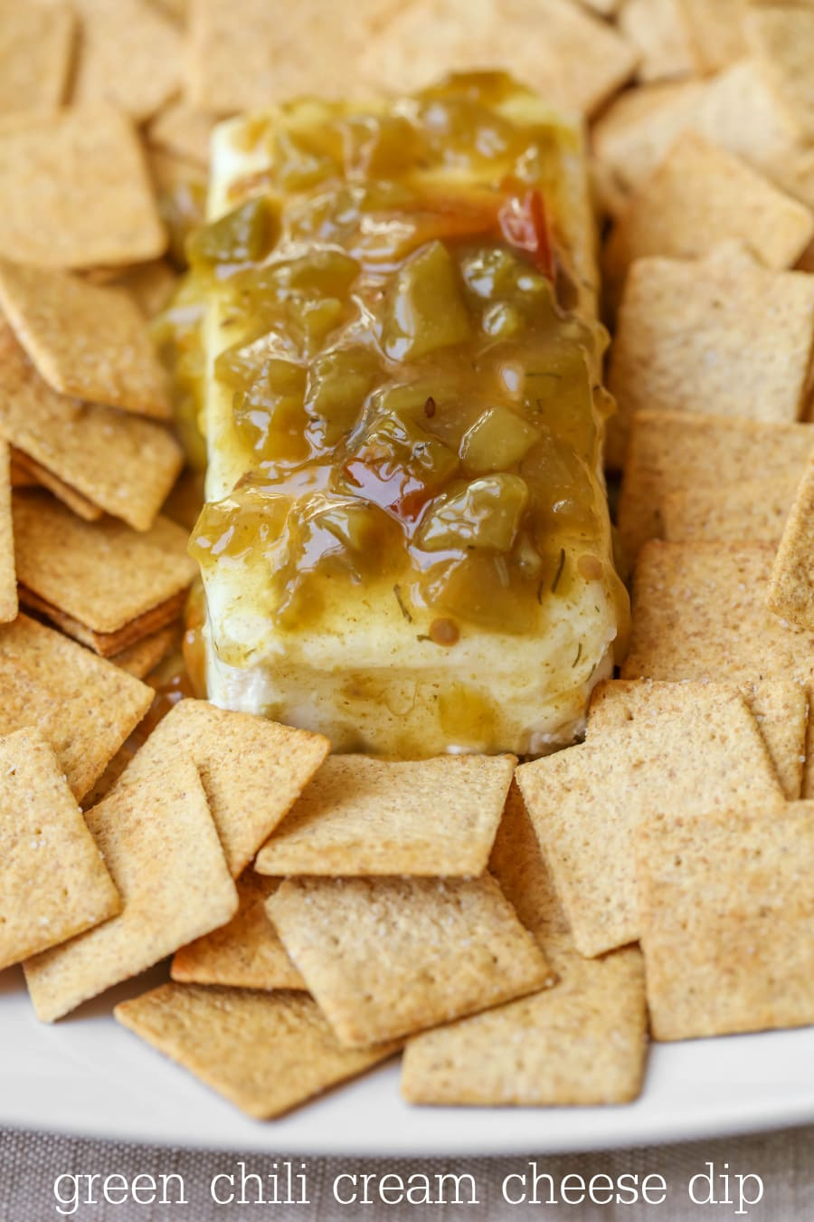 Green Chili Cream Cheese Dip - one of our favorite appetizers that is delicious and takes just 1 minute to make!!