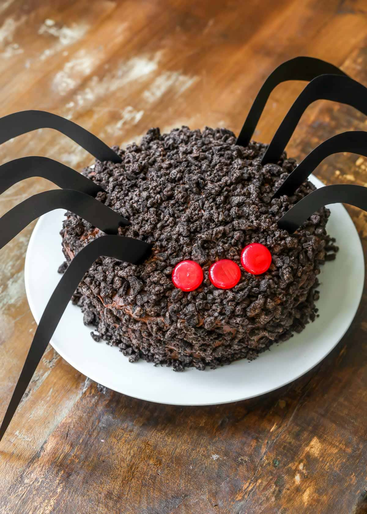Chocolate Oreo spider cake on a white plate