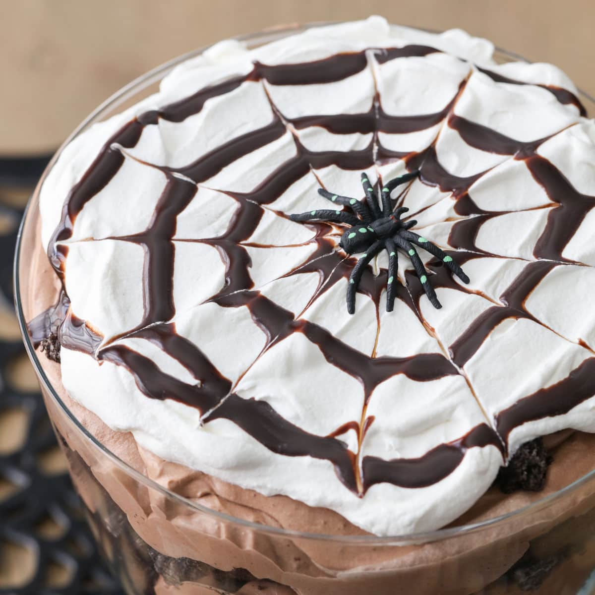 chocolate spider web on whipped cream