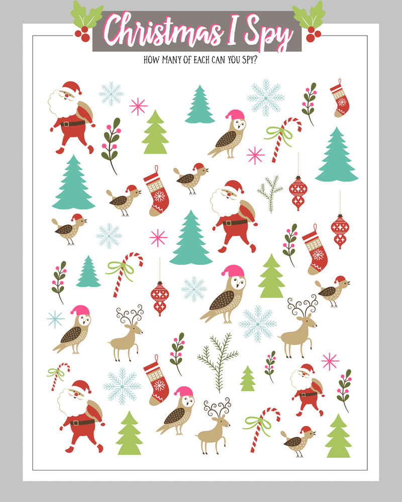 FREE Christmas I Spy printables - a great December activity for the kids or perfect to have on hand at any holiday party.