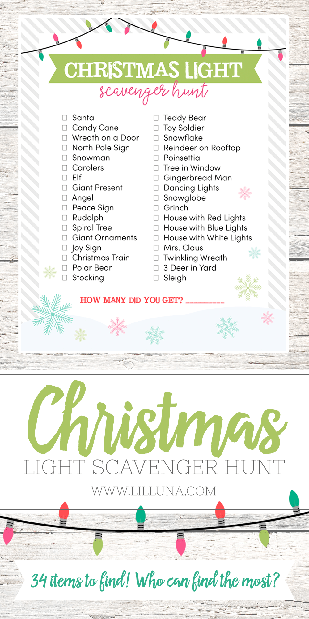 Simplicity image throughout christmas light scavenger hunt list printable