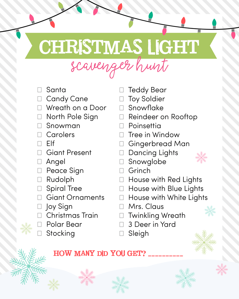 graphic relating to Christmas Scavenger Hunt Printable Clues named Xmas Light-weight Scavenger Hunt