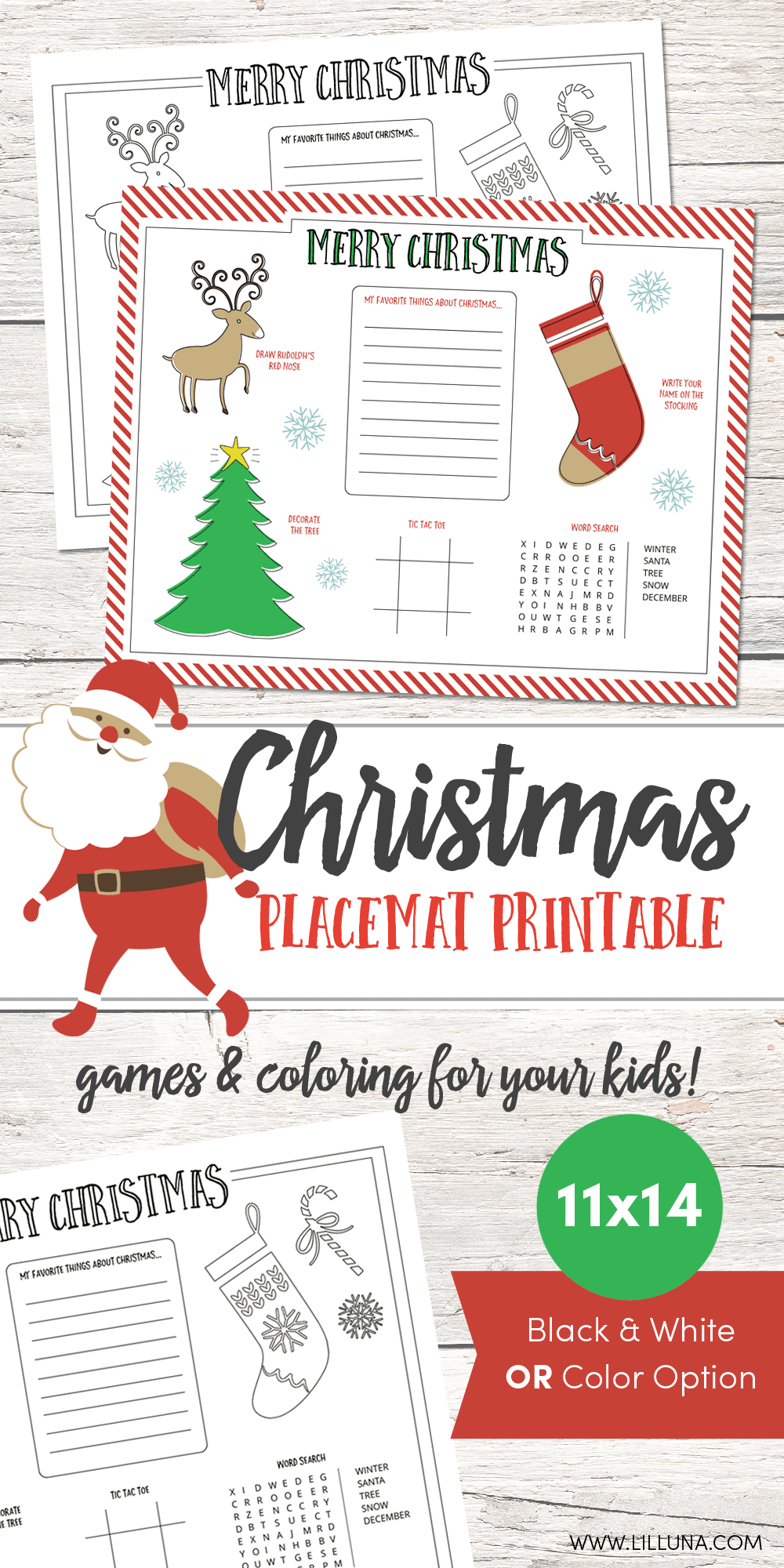 FREE Christmas Placemat Printable - perfect for upcoming Christmas activities and get togethers. The kids will love these!!