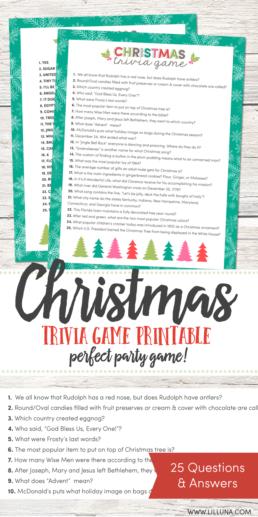 picture regarding Christmas Trivia Game Printable named Totally free Xmas Trivia Match Lil Luna