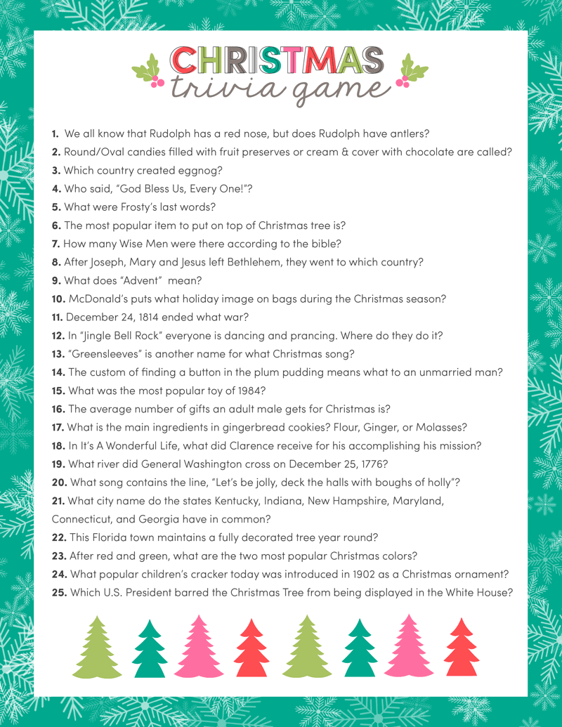 free christmas trivia game just download print and use for your upcoming christmas parties - Free Christmas Pictures To Print 2