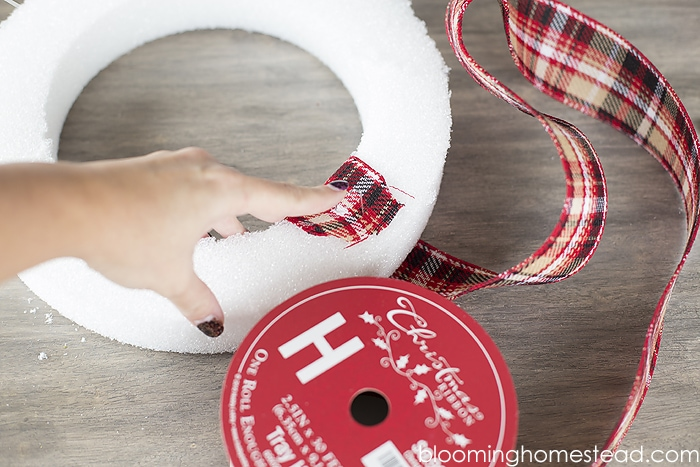 DIY Elegant Christmas Wreath by Blooming Homestead - make a beautiful, personalized wreath for the holidays, using just a few simple supplies!!