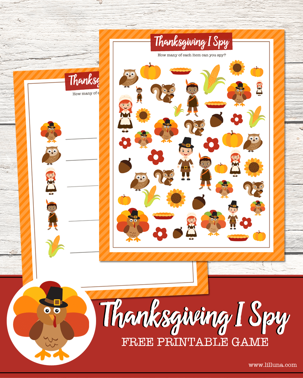 FREE Printable Thanksgiving I Spy printable - such a fun activity for the kids to do on Thanksgiving!