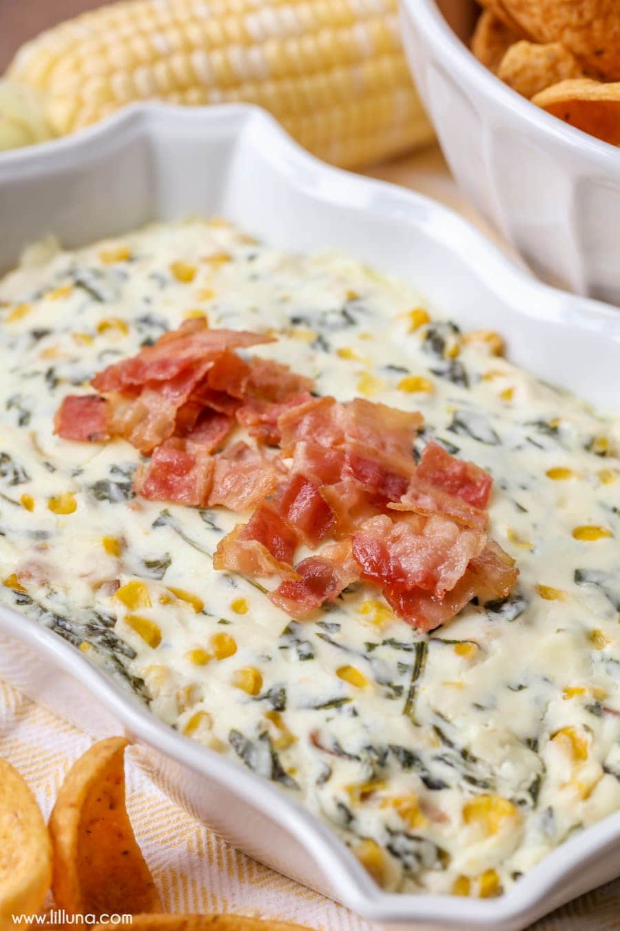 Bacon Corn and Spinach Dip - one of the yummiest appetizer recipes!! Three cheeses, corn, spinach, and of course BACON!!