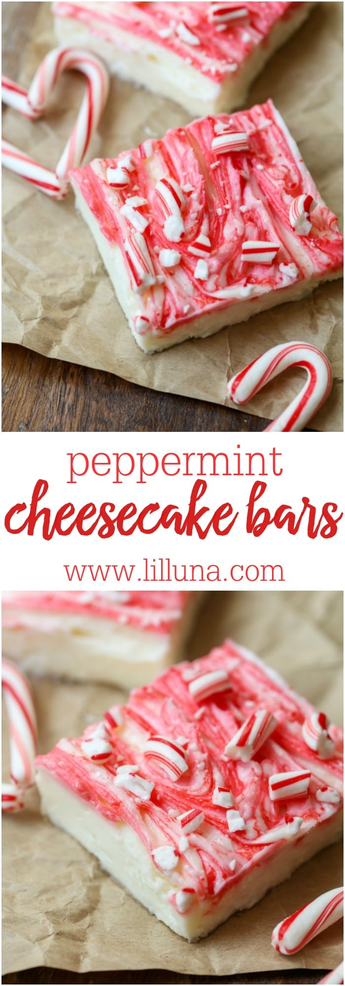 Creamy Peppermint Cheesecake bars topped with candy cane pieces and perfect for the holidays.
