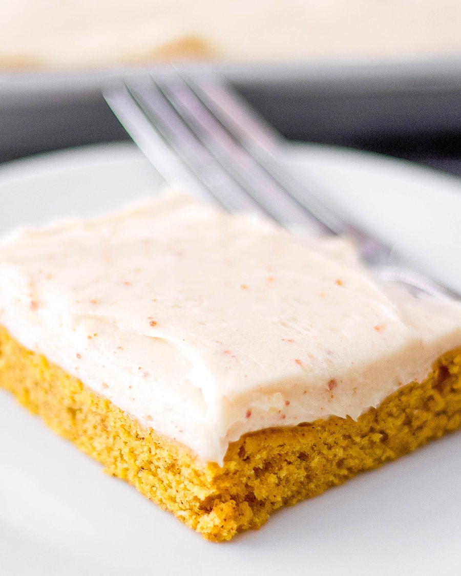Pumpkin Sheet Cake - If you are only going to make one cake this fall, make it this pumpkin sheet cake with delicious brown butter salted caramel frosting!!