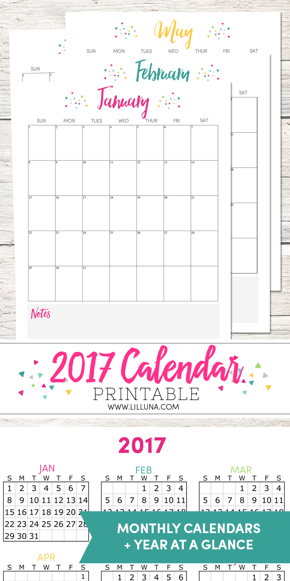 FREE 2017 Printable Calendar - even has a NOTES section on the bottom to help you be organized in the new year.