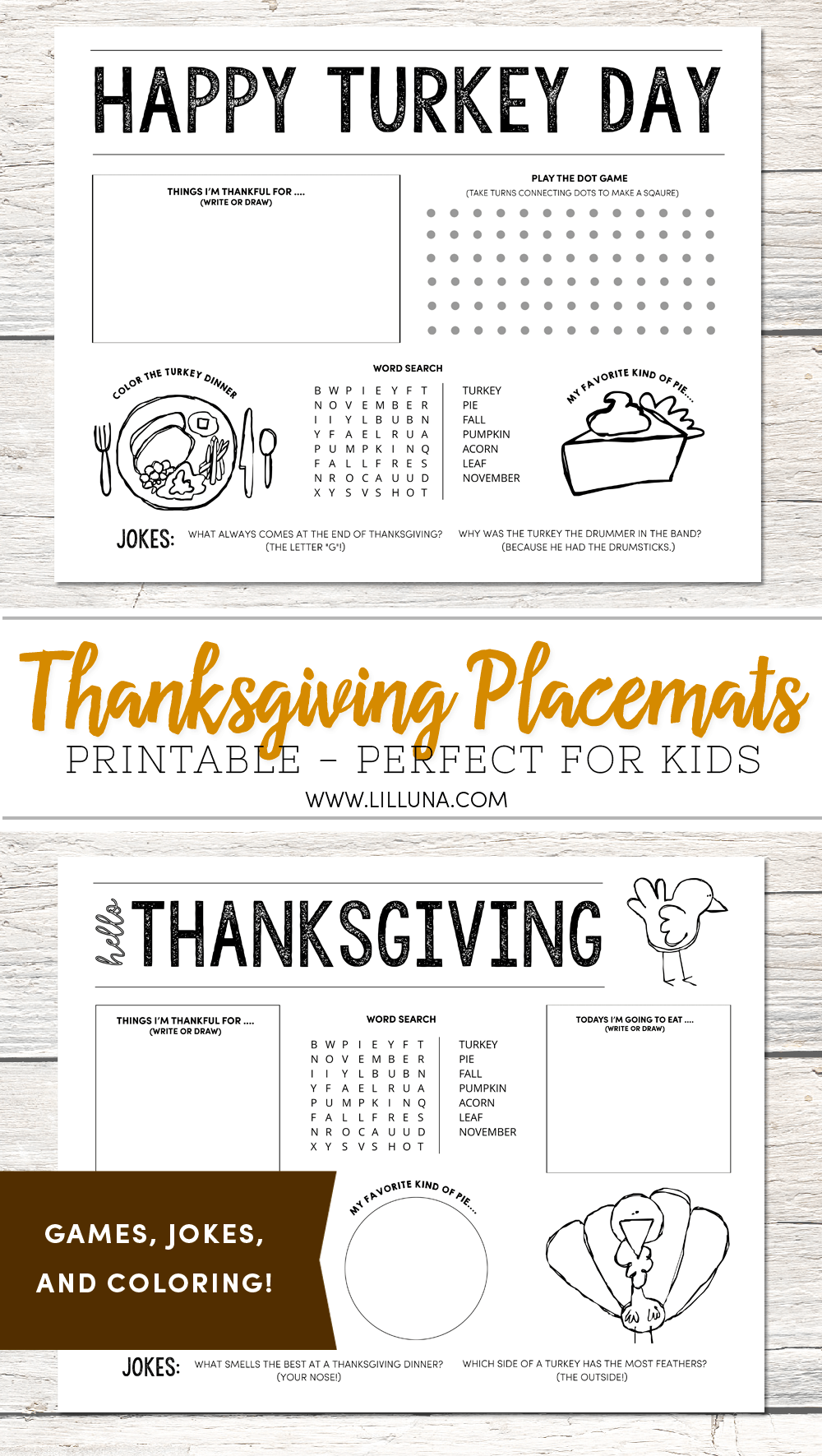 FREE Thanksgiving Coloring Placemats