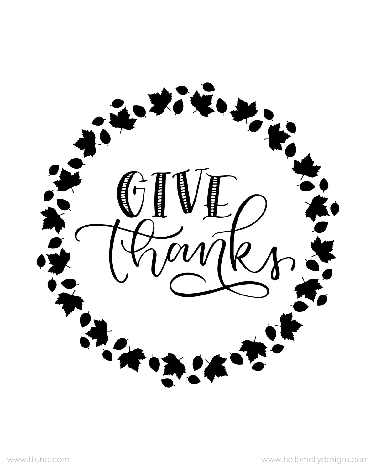FREE Give Thanks Prints available to download in 3 colors - perfect to print, frame and display for Thanksgiving!