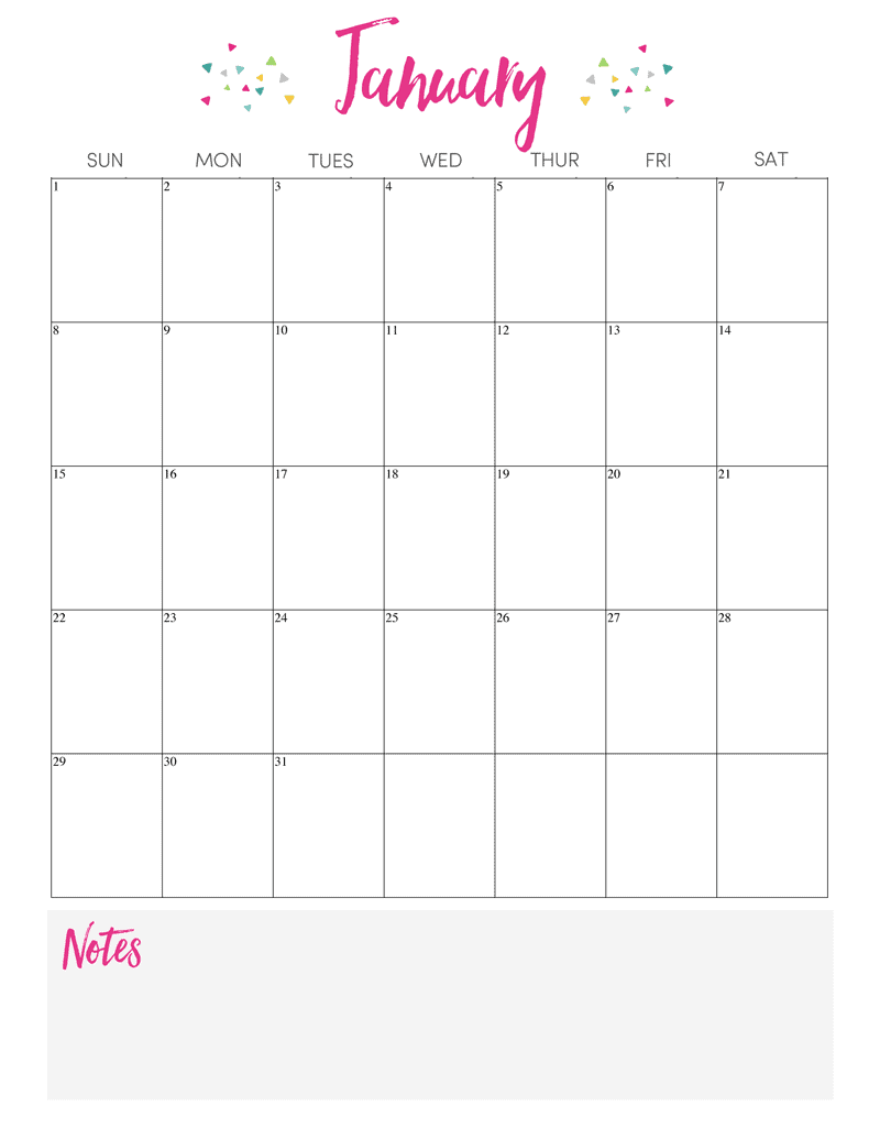 Blank Calendar With Notes Section : Printable calendar lil luna
