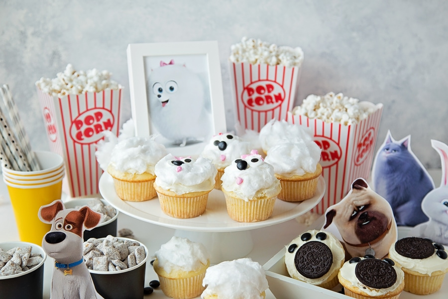The Secret Life of Pets Movie Night idea with Gidget cupcakes, Puppy Chow and Paw Print Cupcakes.secret-life-of-pets-5