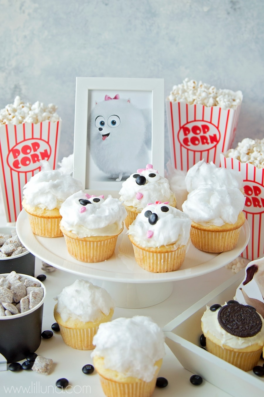 The Secret Life of Pets Movie Night idea with Gidget cupcakes, Puppy Chow and Paw Print Cupcakes.