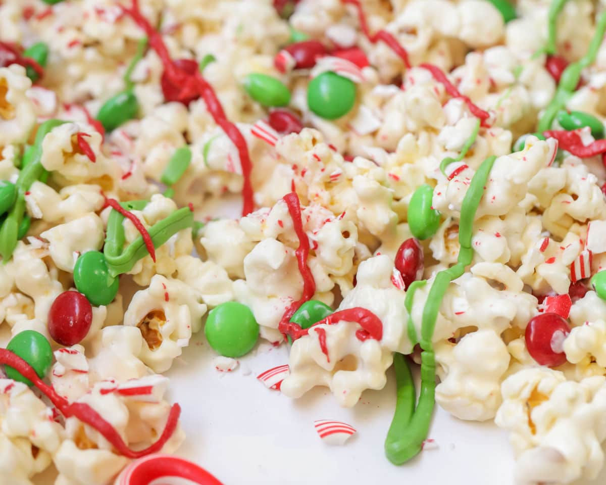 Candy covered Christmas popcorn.