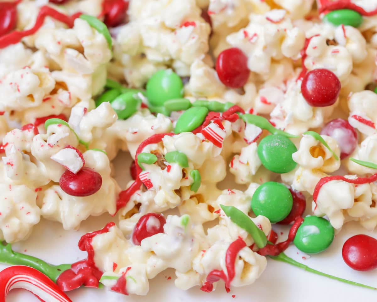 Christmas popcorn drizzled with candy melts
