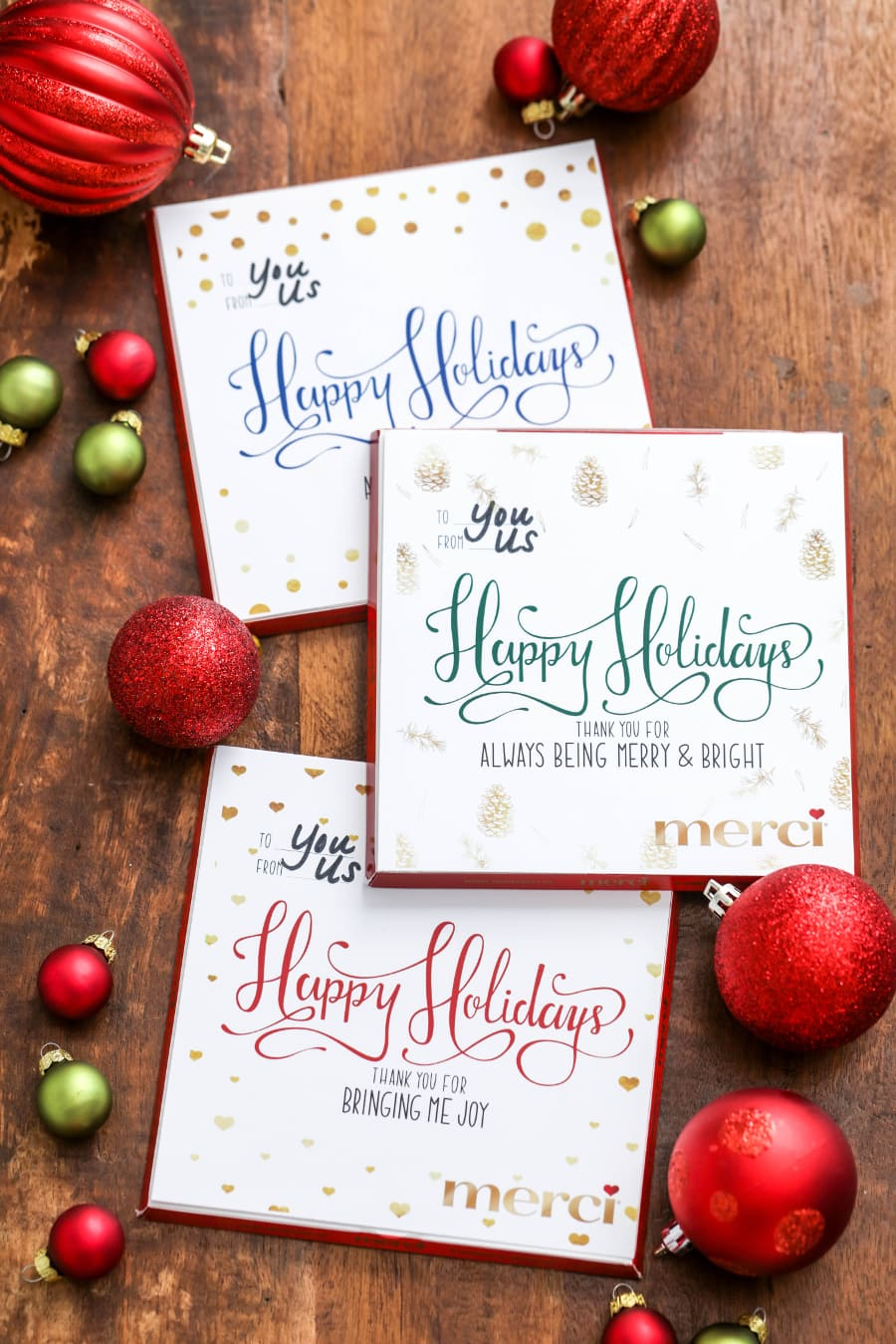 Gift merci chocolate this holiday season with free customizable inserts and a free list to help you keep track of your gift giving this Christmas!